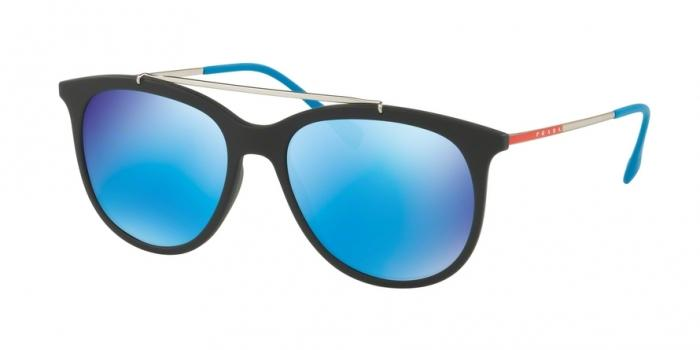 Gafas de sol Prada Linea Rossa PS 02TS DG05M2 BLACK RUBBER - LIGHT GREEN MIRROR BLUE