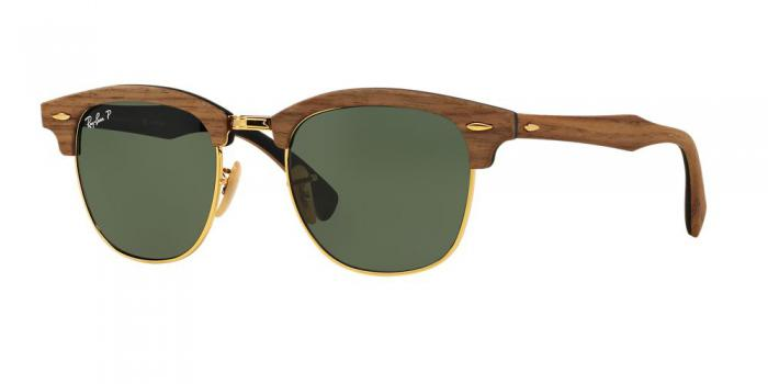 Gafas de sol Ray-Ban RB3016M CLUBMASTER WOOD 118158 WALNUT RUBBER BLACK - POLAR GREEN