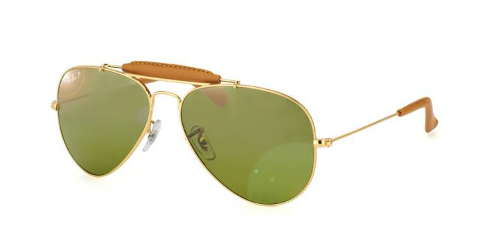 Gafas de sol Ray-Ban AVIATOR CRAFT RB3422Q 001/M9 ARISTA/LIGHT BROWN LEATHER - GREEN GRADIENT BLUE+ POLAR AR