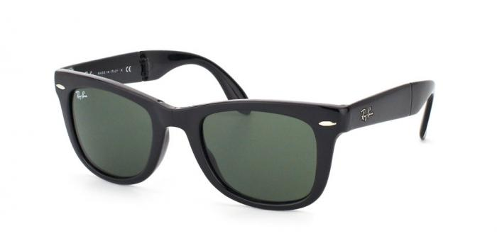 Gafas de sol Ray-Ban RB4105 FOLDING WAYFARER 601 BLACK - CRYSTAL GREEN