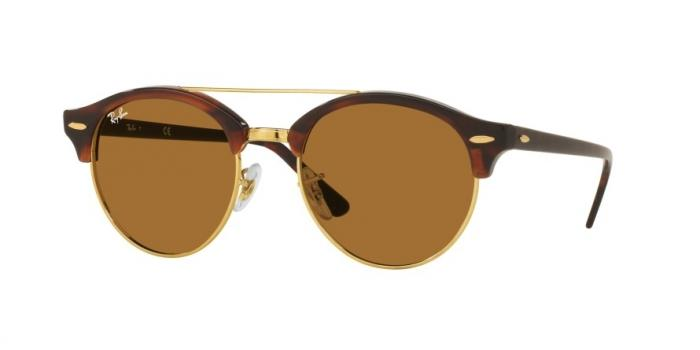 Gafas de sol Ray-Ban RB4346 CLUBROUND DOUBLE BRIDGE 990/33 SHINY RED HAVANA - BROWN