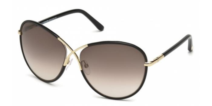 Gafas de sol Tom Ford FT0344 ROSIE 01B negro brillo / gris