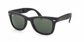 Gafas de Sol Ray-Ban RB4105 FOLDING WAYFARER 601S MATTE BLACK - CRYSTAL GREEN